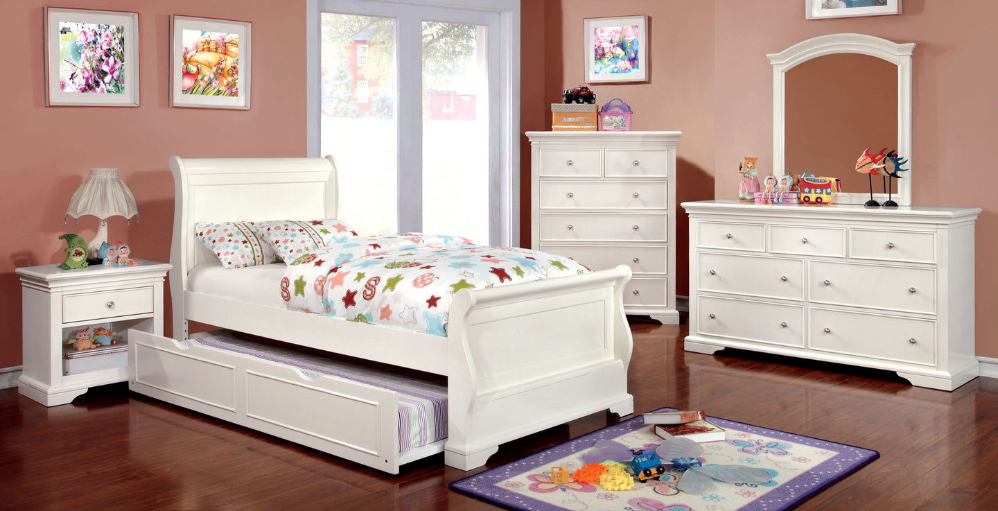 Mullan CM7944WH-F Transitional White Full Trundle Sleigh Bedroom Set