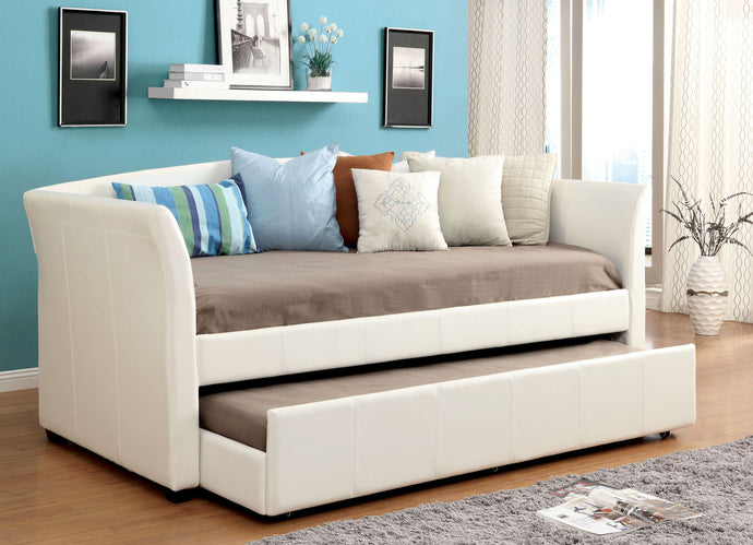 Furniture Of America Delmar White Leatherette Twin Daybed With Trundle