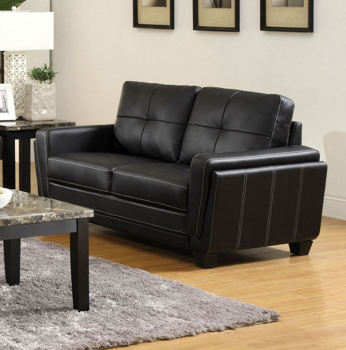 Blacksburg CM6485-L Contemporary Style Black Leatherette Loveseat