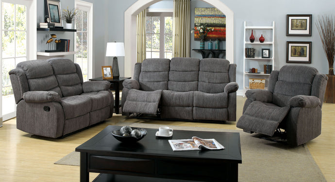 Millville CM6173GY Traditional Gray Chenille Fabric Reclining Sofa Set