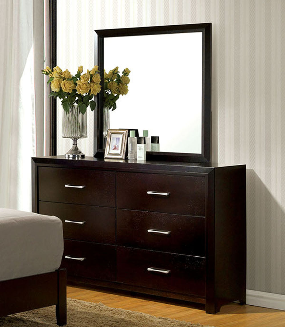 Janine CM7868D CM7868M Transitional Espresso Dresser Mirror Set