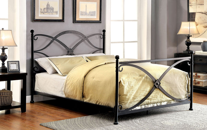 Zaria CM7732T Contemporary Matte Black Finish Twin Metal Bed
