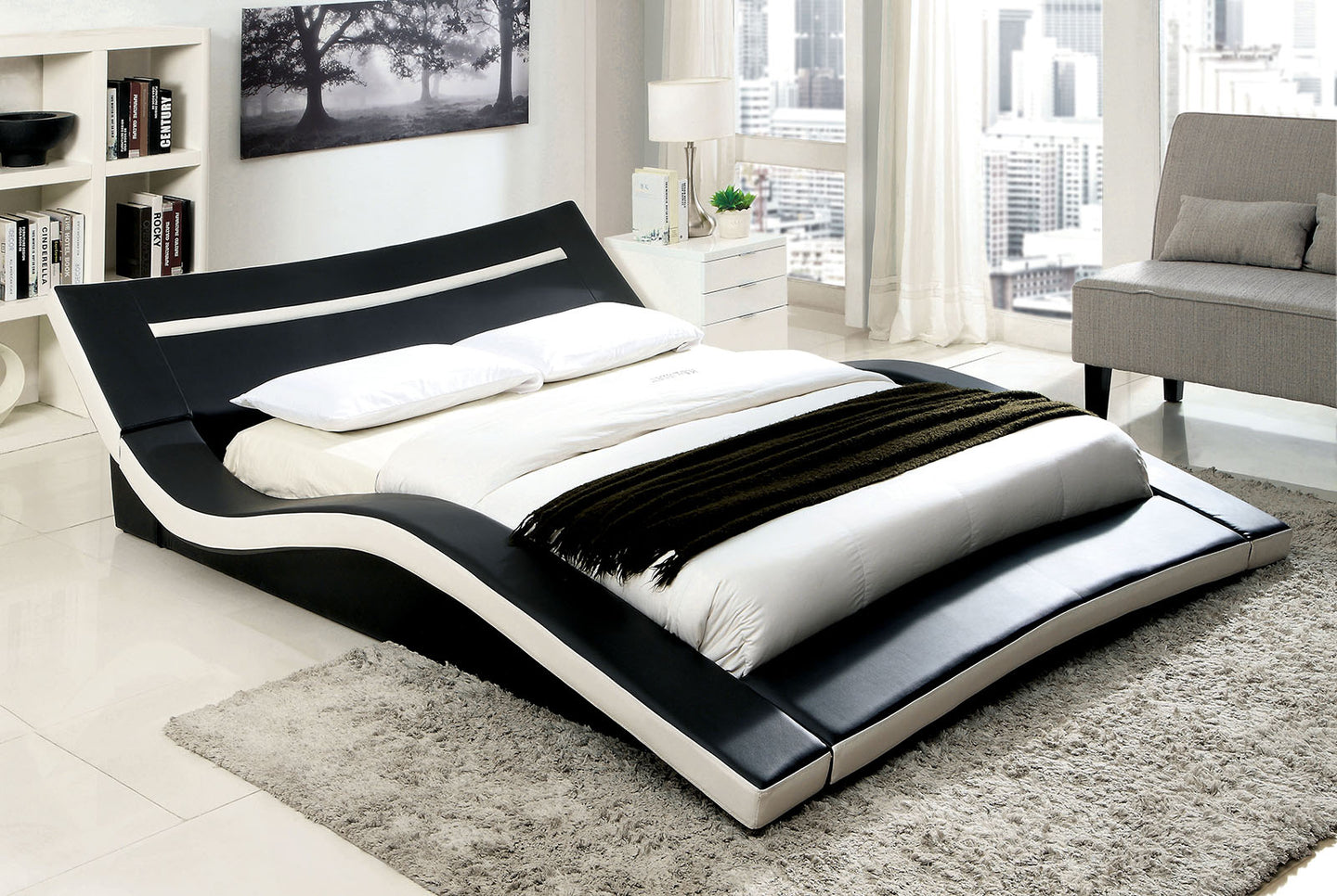 Furniture of America Zelina Contemporary Black and White Queen Platform Bed
