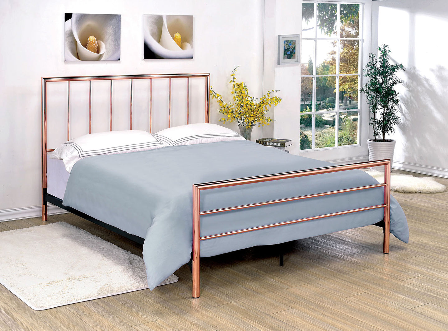 Diana CM7939EK Contemporary Rose Gold Finish Eastern King Metal Bed