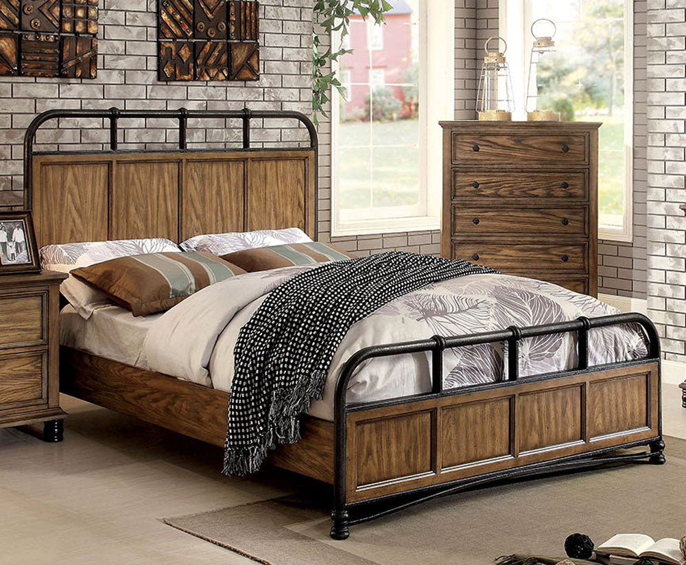 Furniture of America CM7558CK Mcville Industrial Dark Oak Cal King Bed