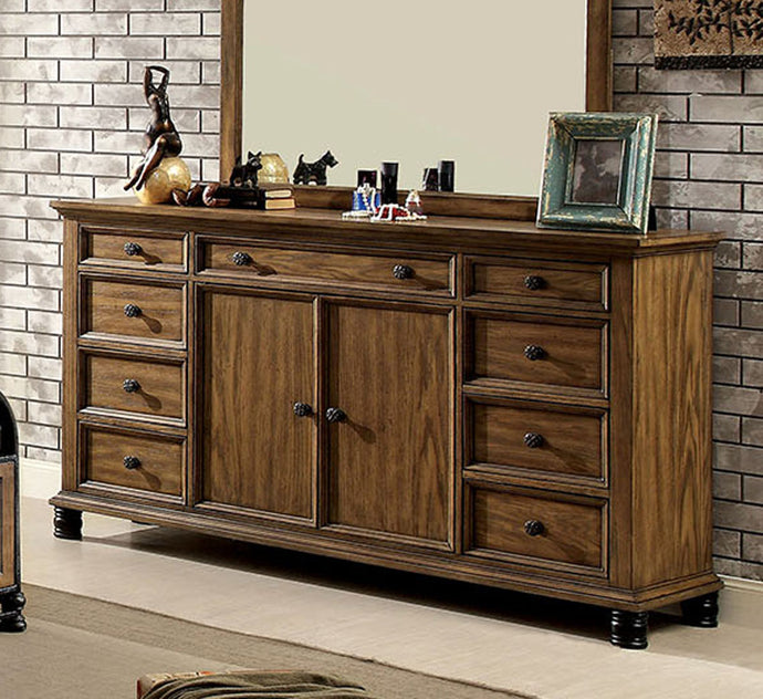 Furniture of Ameirca CM7558D Mcville Industrial Dark Oak Dresser