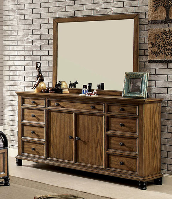 Mcville CM7558D CM7558M Industrial Dark Oak Dresser Mirror Set