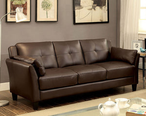 Furniture of America Pierre Contemporary Brown Leatherette Sofa Couch