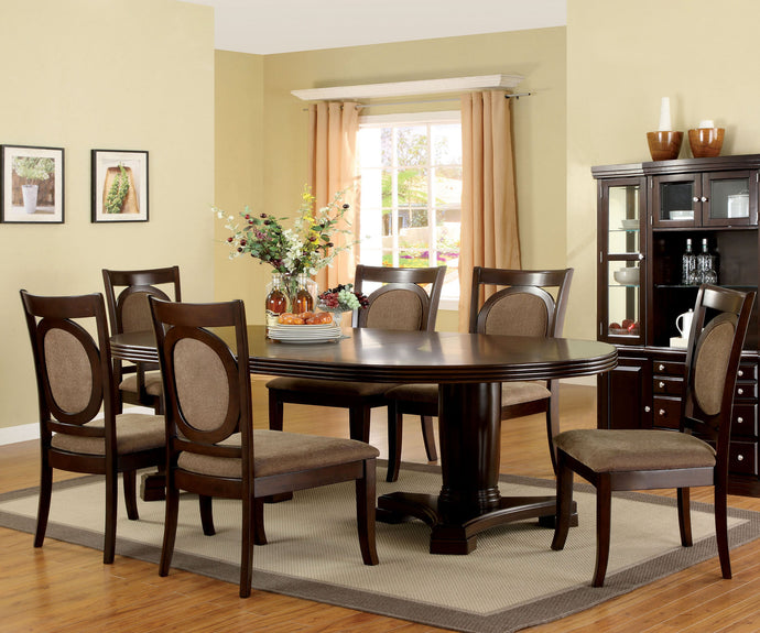 Furniture of America Evelyn 7 Piece Transitional Walnut Dining Table Set