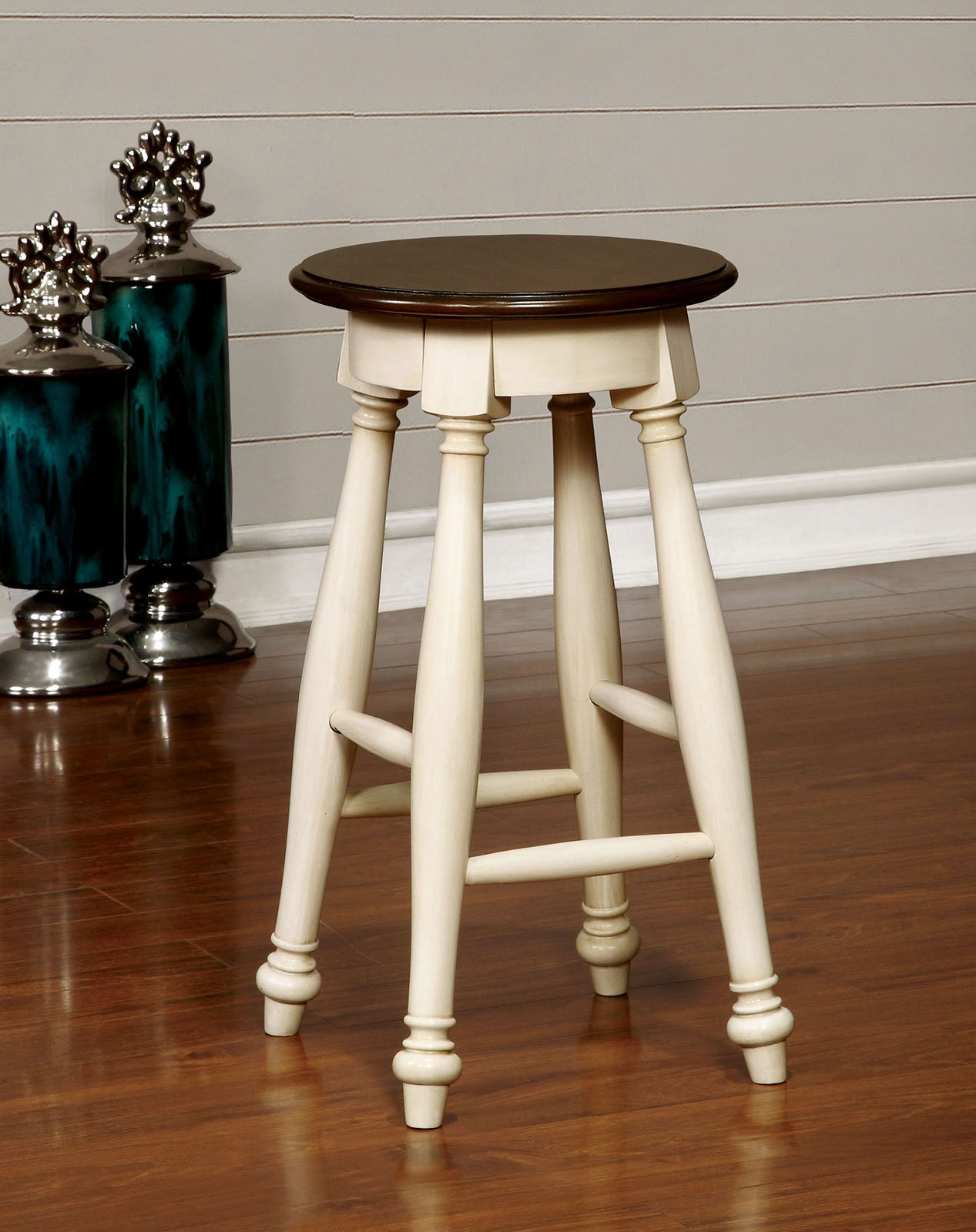 Sabrina CM3199WC-ST Transitional White Counter Height Stool Set of 2