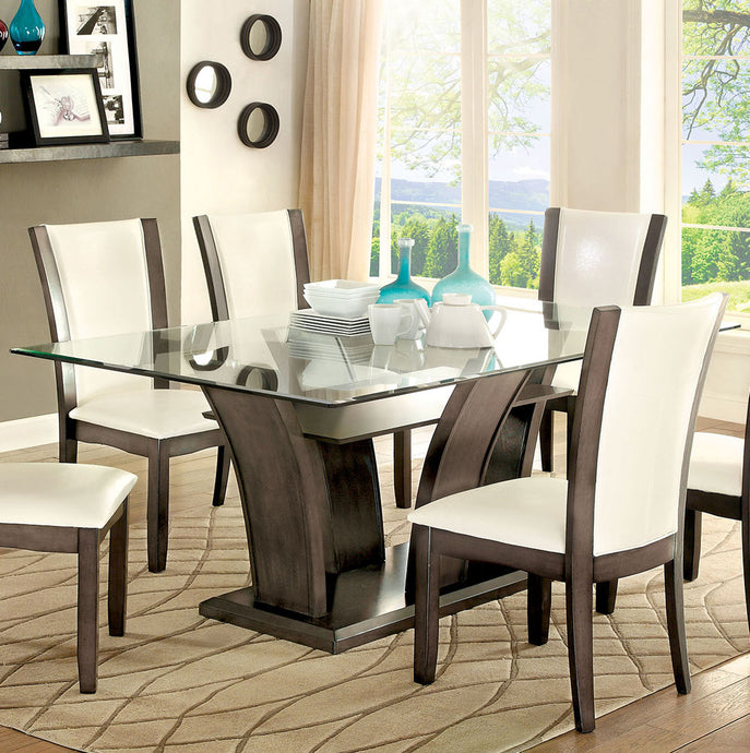 Furniture of America Manhattan Transitional Gray Rectangular Table