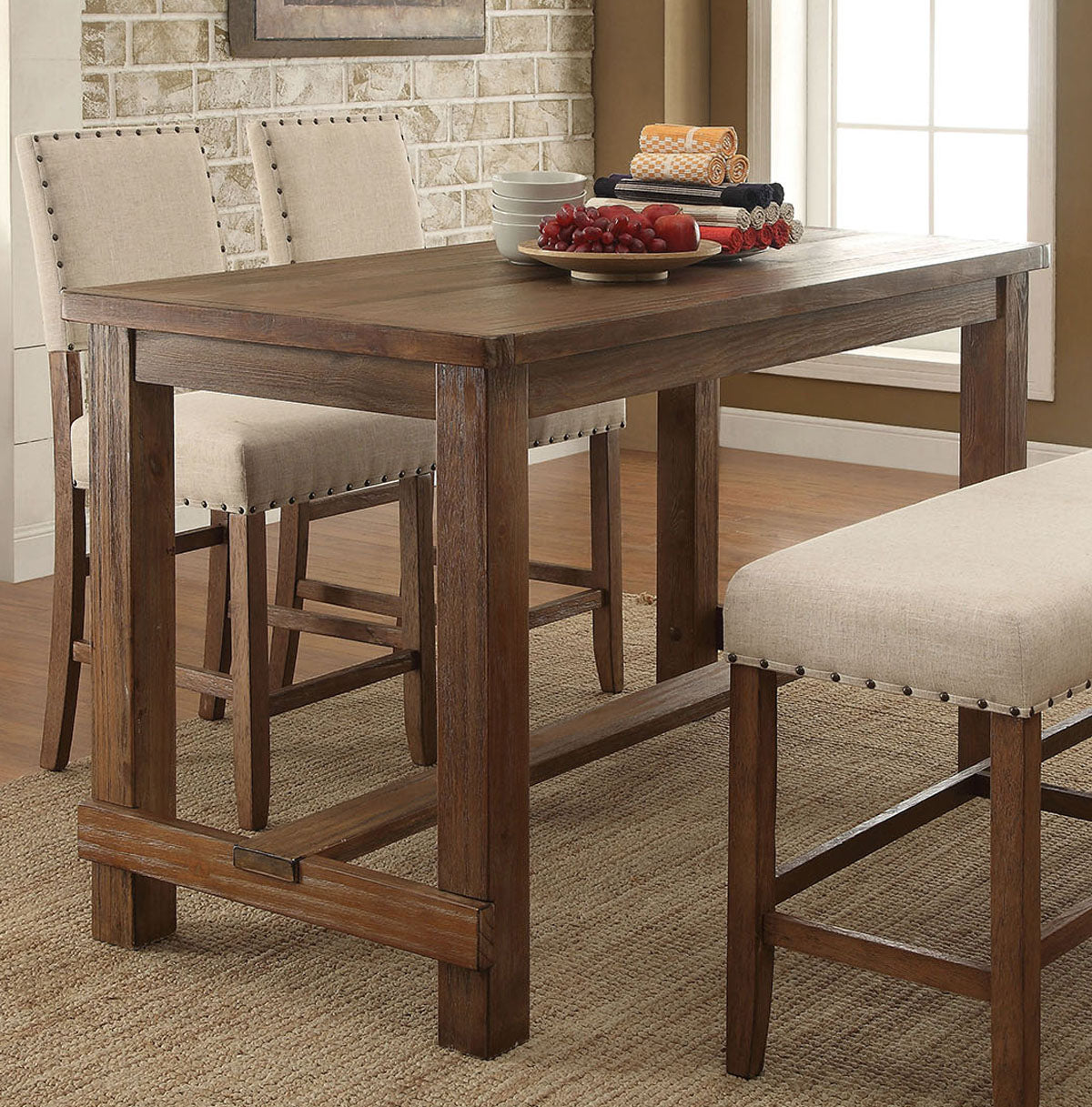 Sania CM3324PT Transitional Natural Tone Finish Counter Height Table