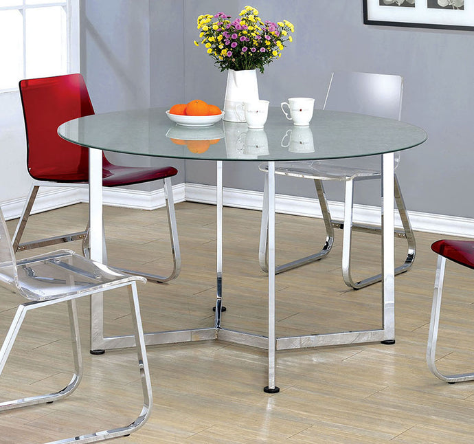 Furniture of America CM3991T Yvetti Glass Top Chrome Finish Round Table