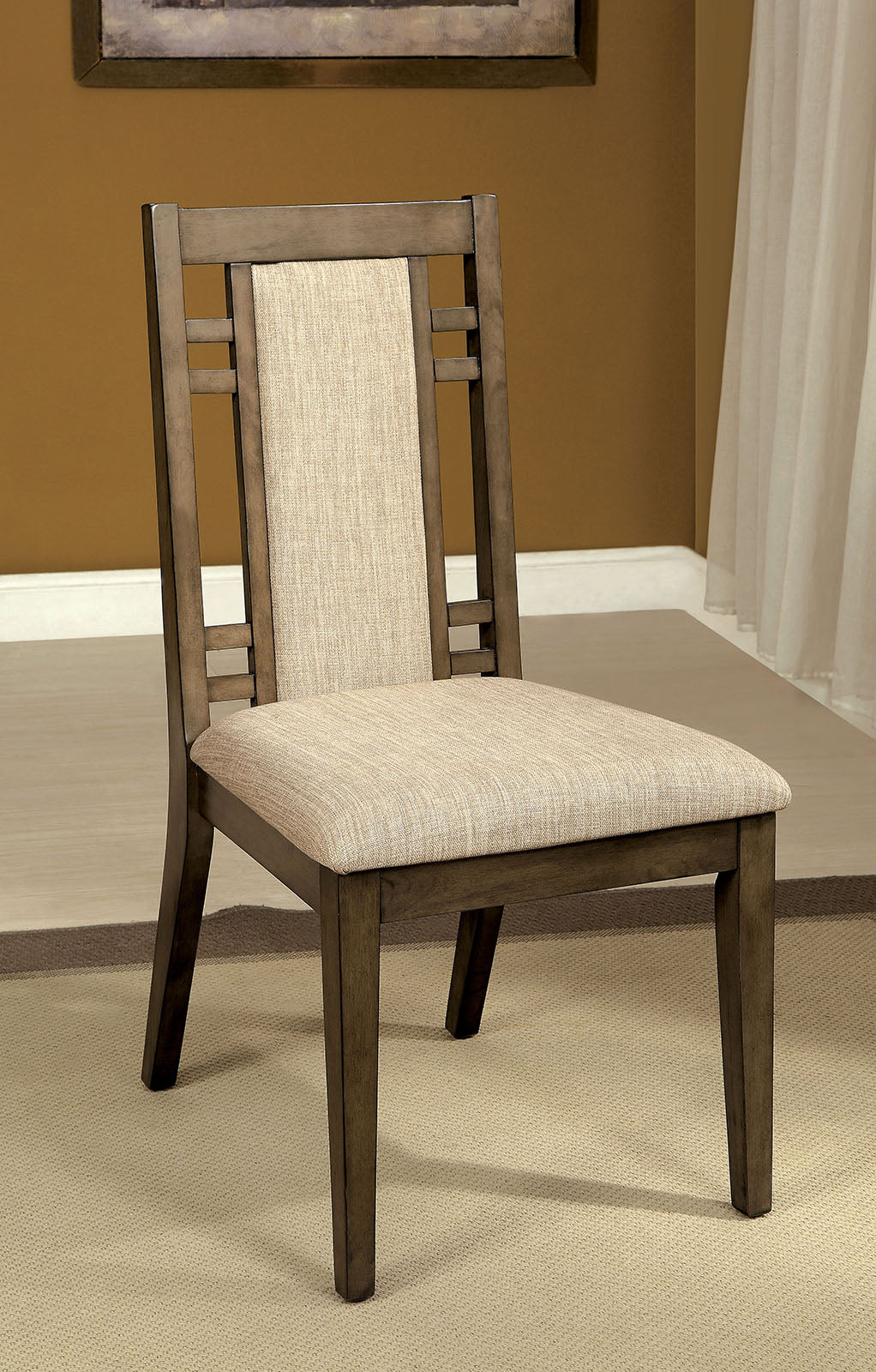 Eris I CM3213SC Transitional Weathered Gray Side Chair Set of 2