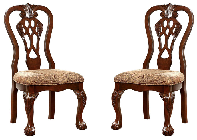 Furniture of America Elana Traditional Brown Cherry Side Chair Set of 2