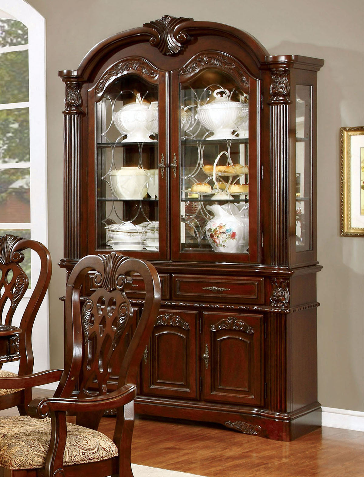 Elana CM3212HB Traditional Brown Cherry Hutch and Buffet