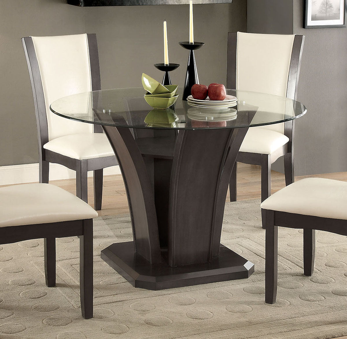 Manhattan CM3710GY-RT Transitional Gray Finish Round Table