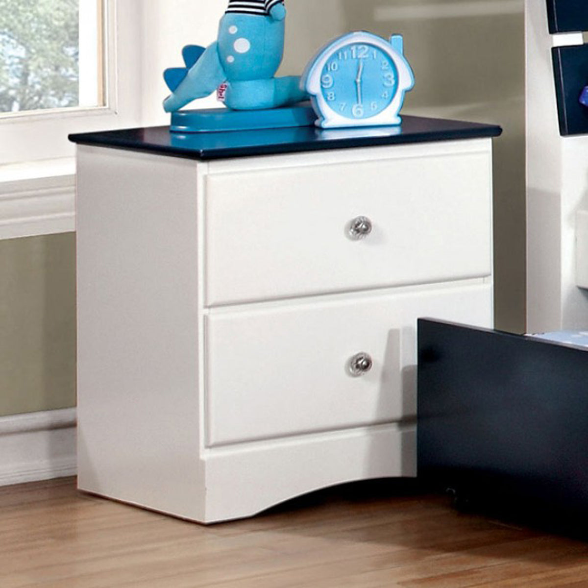 Kimmel CM7626BL-N Transitional White Blue Nightstand
