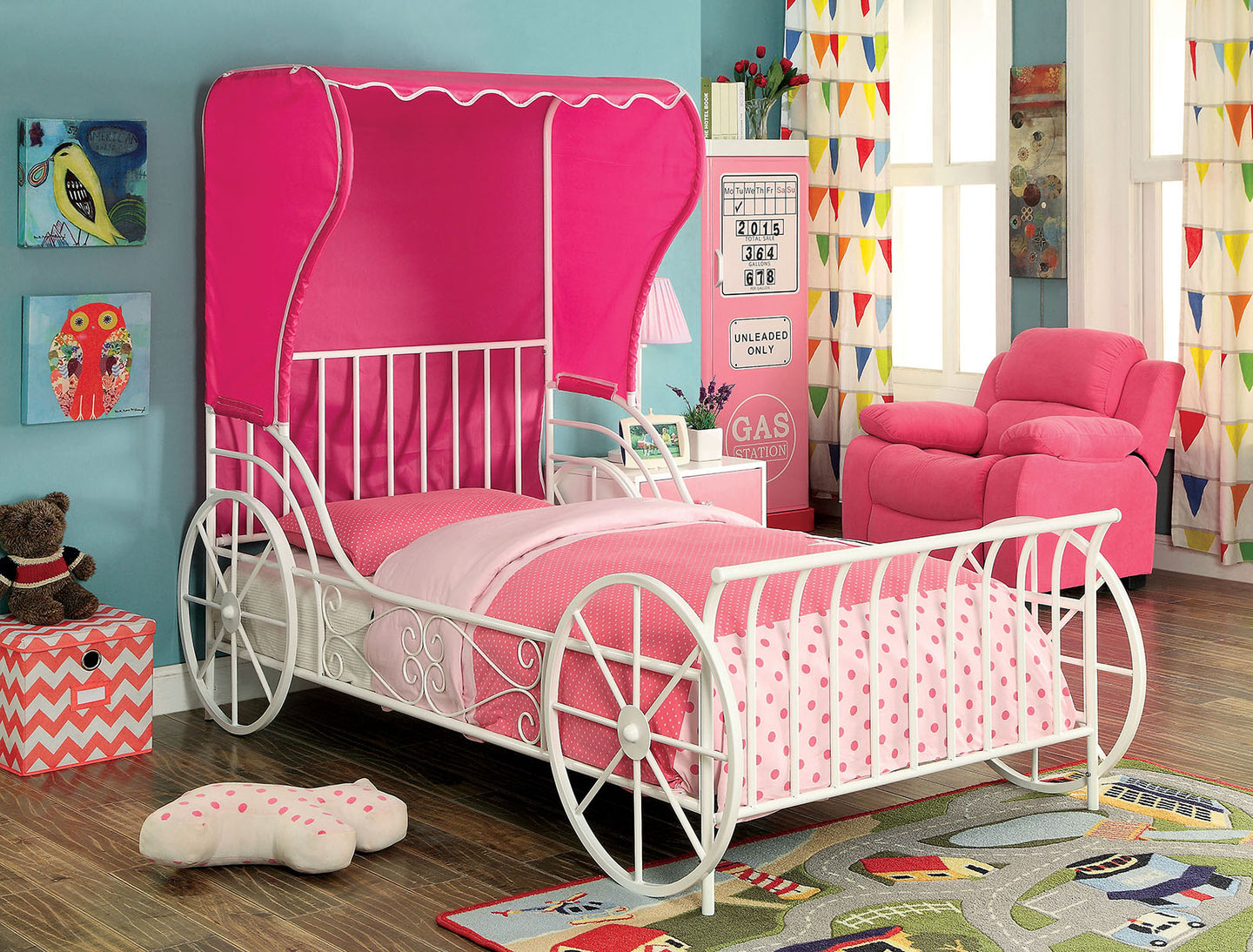 Charm CM7715T Contemporary White Pink Metal Twin Bed