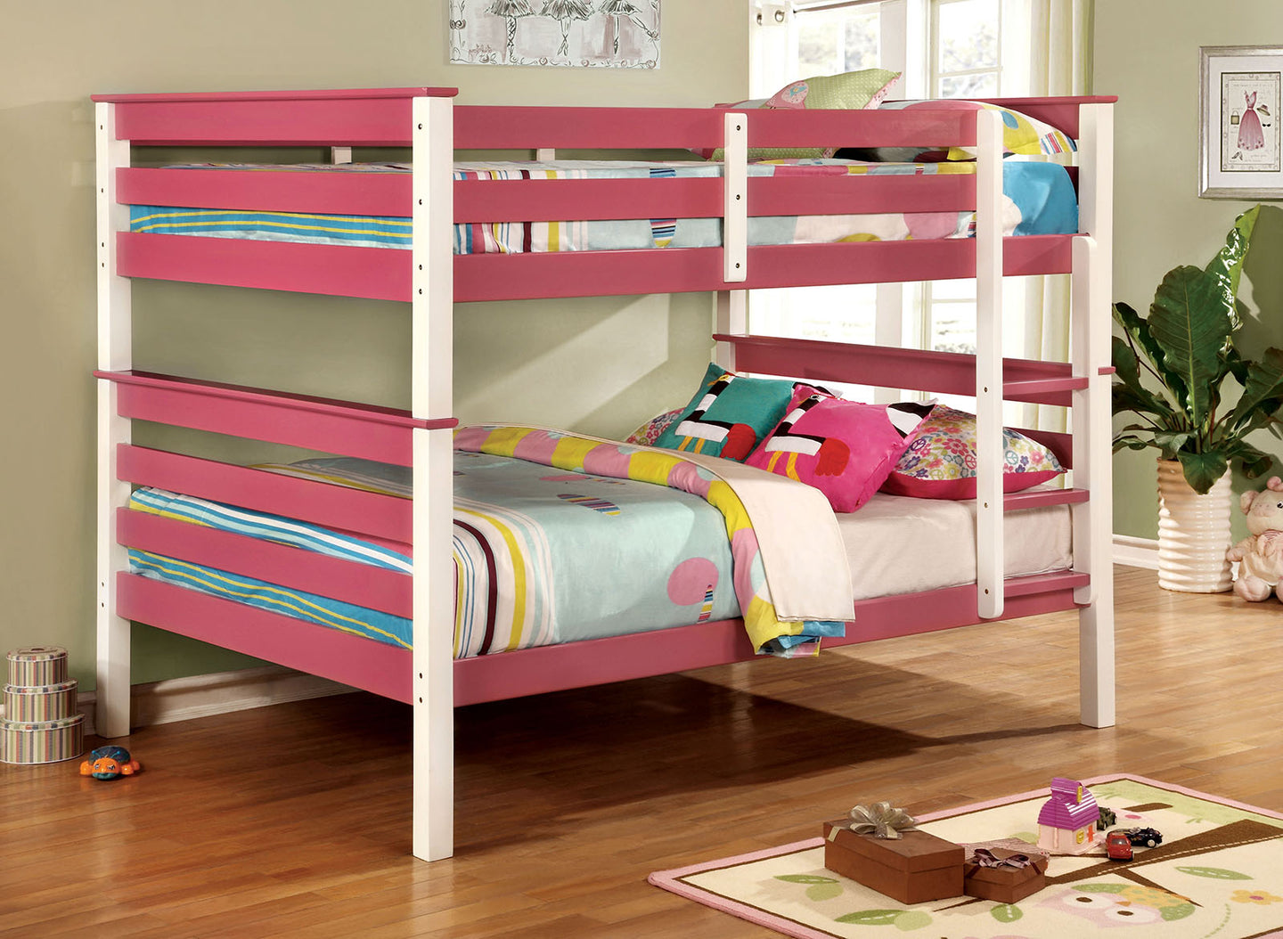 Lorren CM-BK620F-PK Transitional Pink White Full over Full Bunk Bed