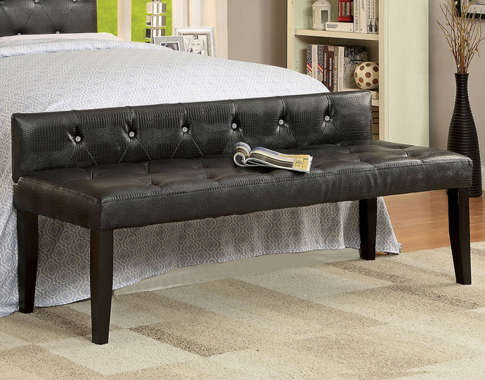 Furniture of America Galen Transitional Black Leatherette Large Bench