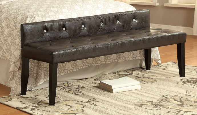 Furniture of America Galen Transitional Dark Brown Leatherette Large Bench