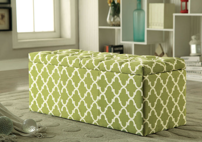 Zaira I CM-BN6033GR Contemporary Green Fabric Storage Ottoman