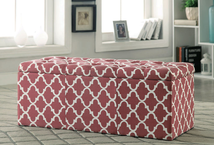 Zaira I CM-BN6033RD Contemporary Red Fabric Storage Ottoman
