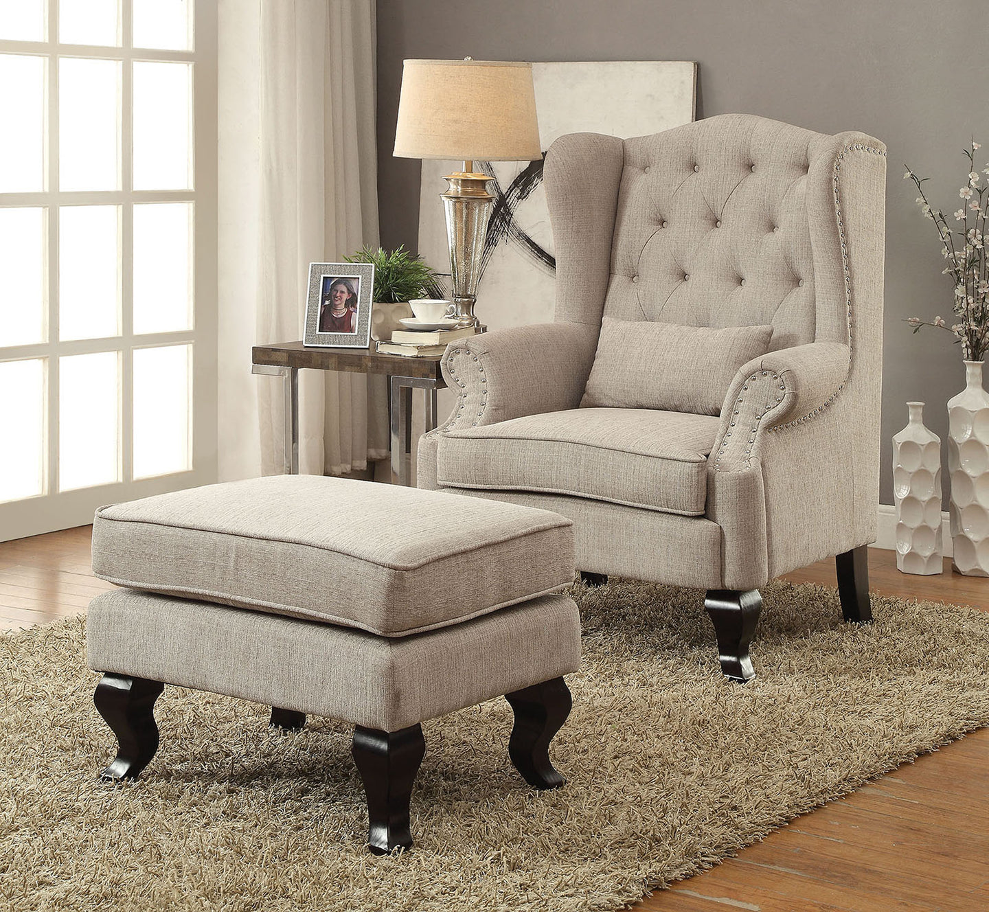 Willow Traditional Beige Fabric Accent Chair and Ottoman Set