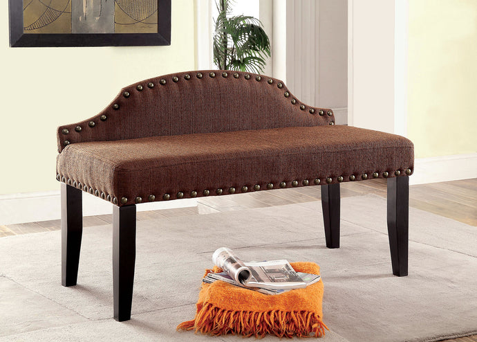Hasselt CM-BN6880BR-S Contemporary Brown Linen-like Fabric Small Bench