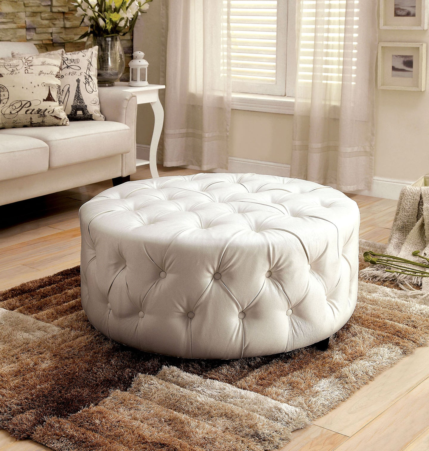 Latoya CM-AC6289WH White Bonded Leather Match Round Ottoman
