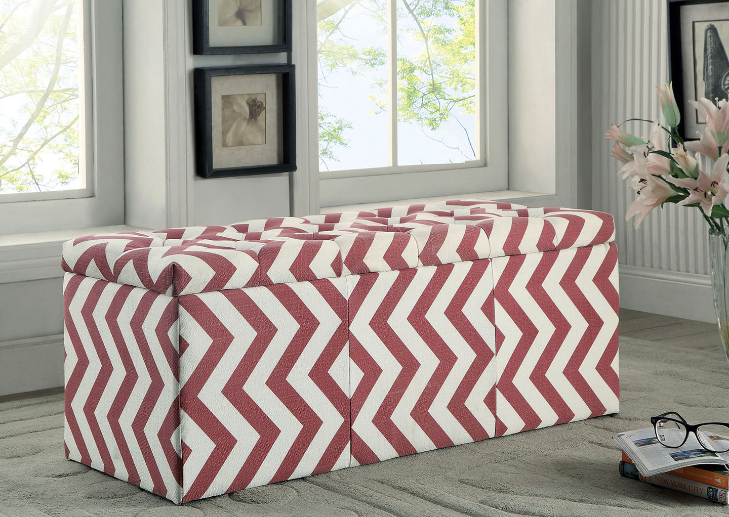 Zahra I CM-BN6031RD Contemporary Red Fabric Storage Ottoman