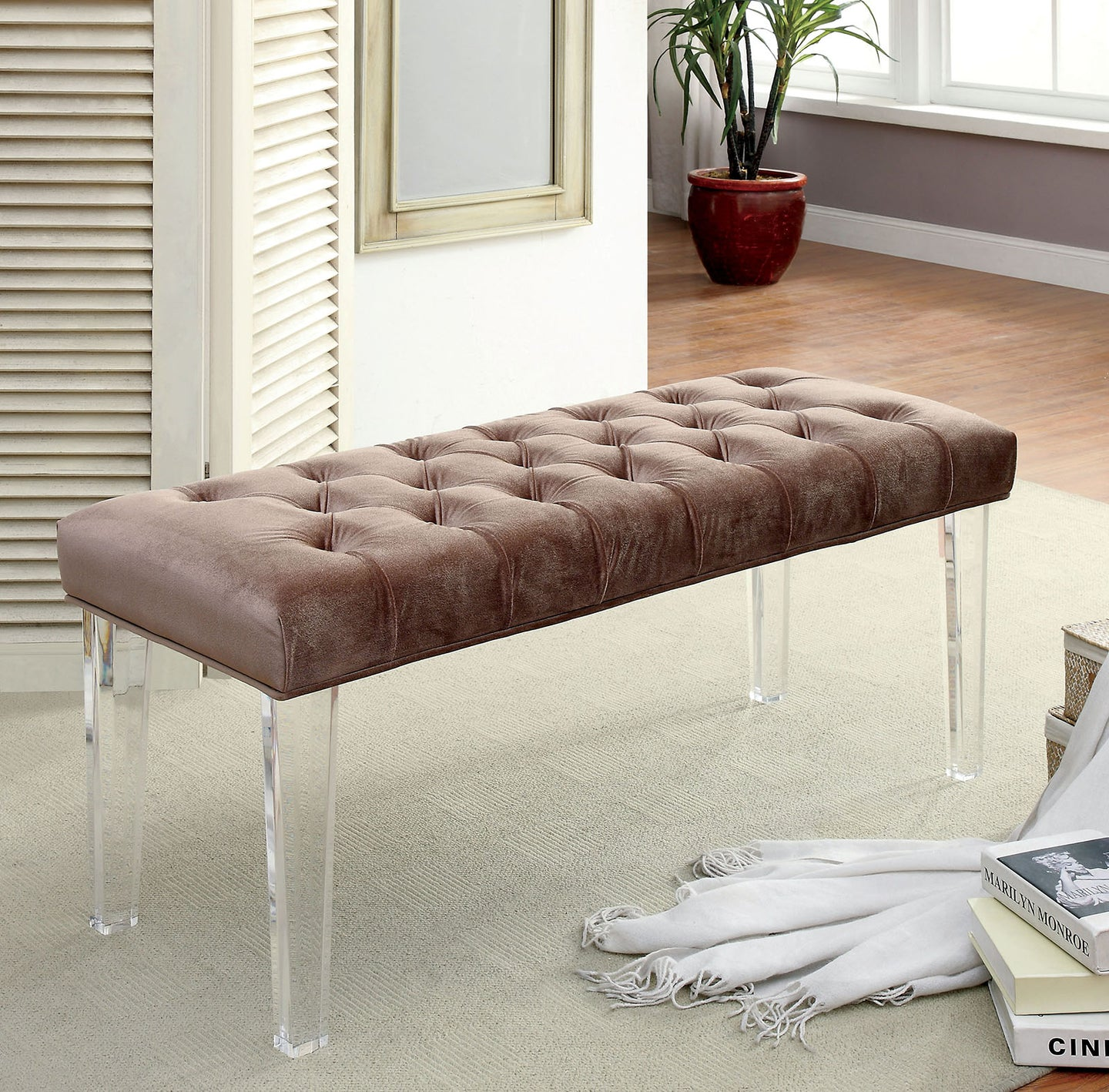 Mahony CM-BN6202BR Contemporary Brown Flannelette Bench