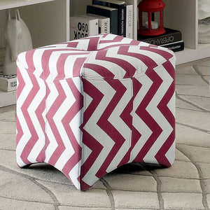 Zahra II CM-BN6021RD Contemporary Red Fabric Ottoman
