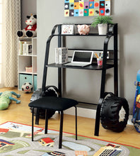 Load image into Gallery viewer, Power Racer II CM7261BK-DK Contemporary Black Metal Desk with Stool