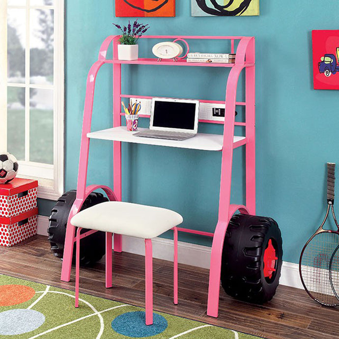 Power Racer II CM7261PK-DK Contemporary Pink Metal Desk with Stool
