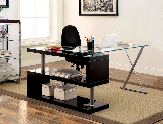 Bronwen CM-DK6131BK Contemporary Black Finish Metal Wood Desk