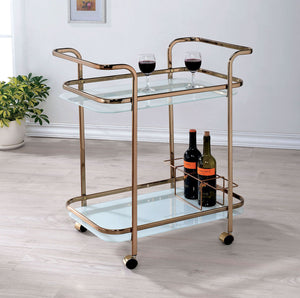 Tiana CM-AC235 Contemporary Champagne Metal Serving Cart