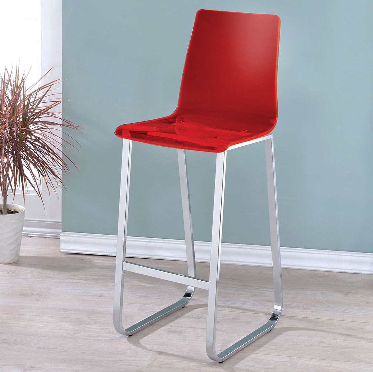 Xena CM3990RD-BC Contemporary Red Acrylic Bar Chair Set of 2