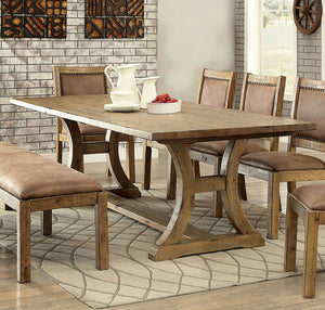 Gianna CM3829T Transitional Style Rustic Pine Finish Dining Table