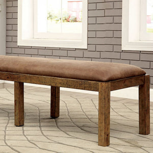 Gianna CM3829BN Transitional Style Rustic Pine Finish Dining Bench