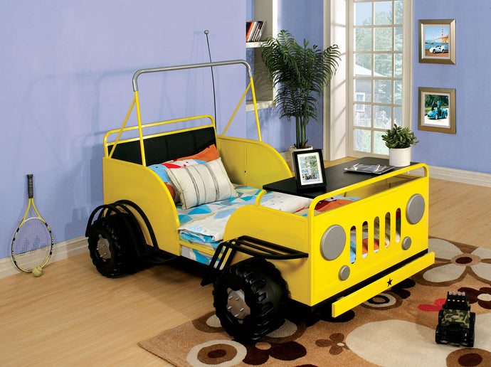 Furniture of America CM7760YW Trekker II Kids Yellow Metal Twin Bed