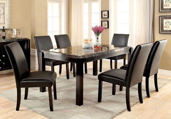 Gladstone I CM3823BK-T 7Pcs Contemporary Black Marble Top Dining Set