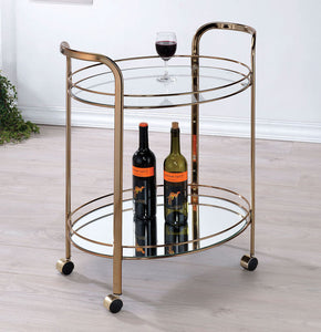 Starla CM-AC236 Contemporary Champagne Glass Metal Serving Cart