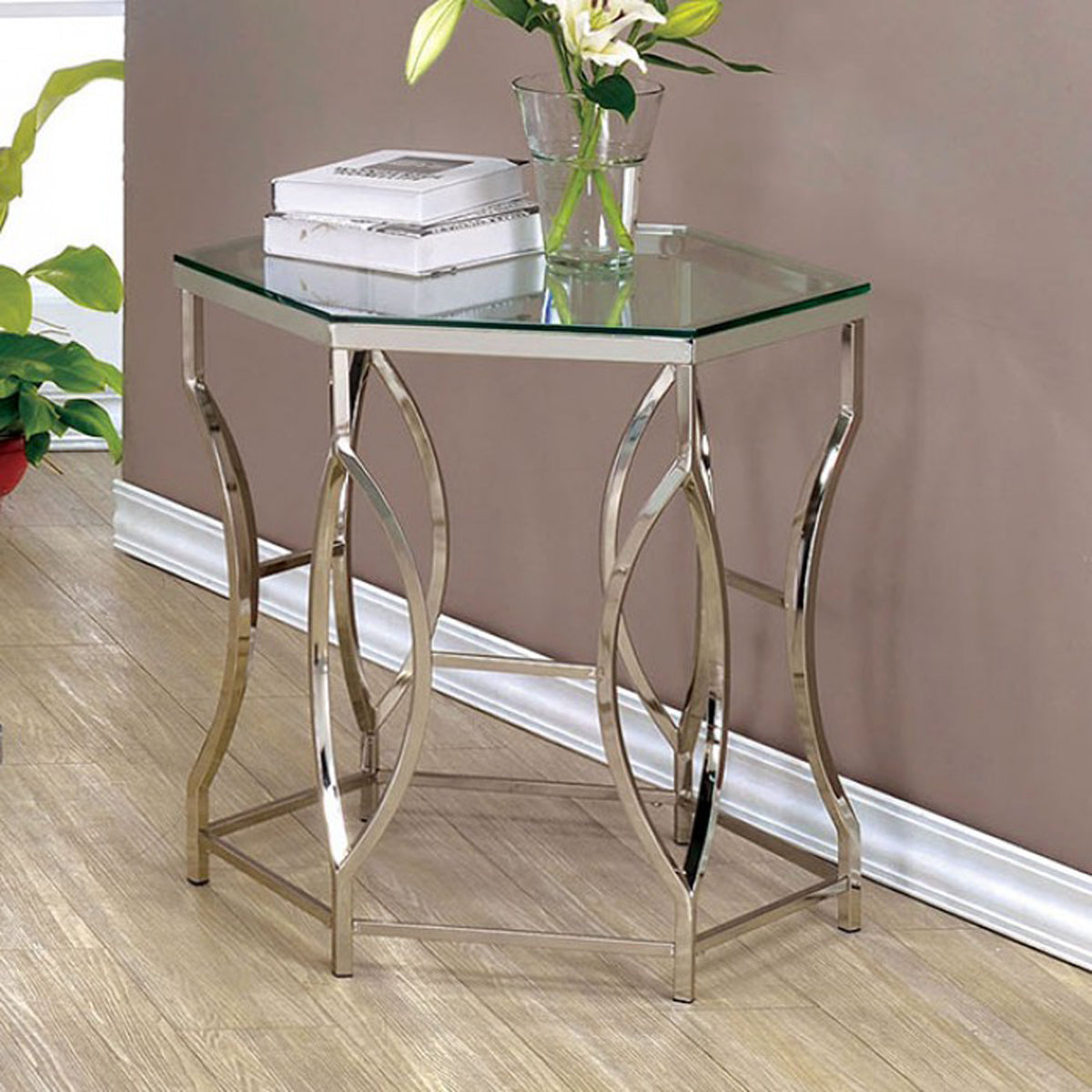 Furniture of America CM4160E Zola Contemporary Chrome Metal End Table
