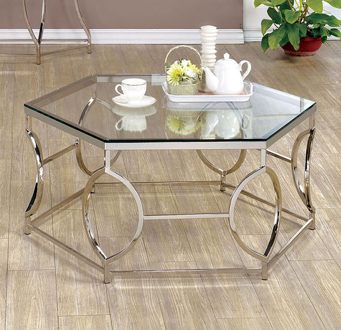 Zola CM4160C Contemporary Chrome Finish Metal Coffee Table