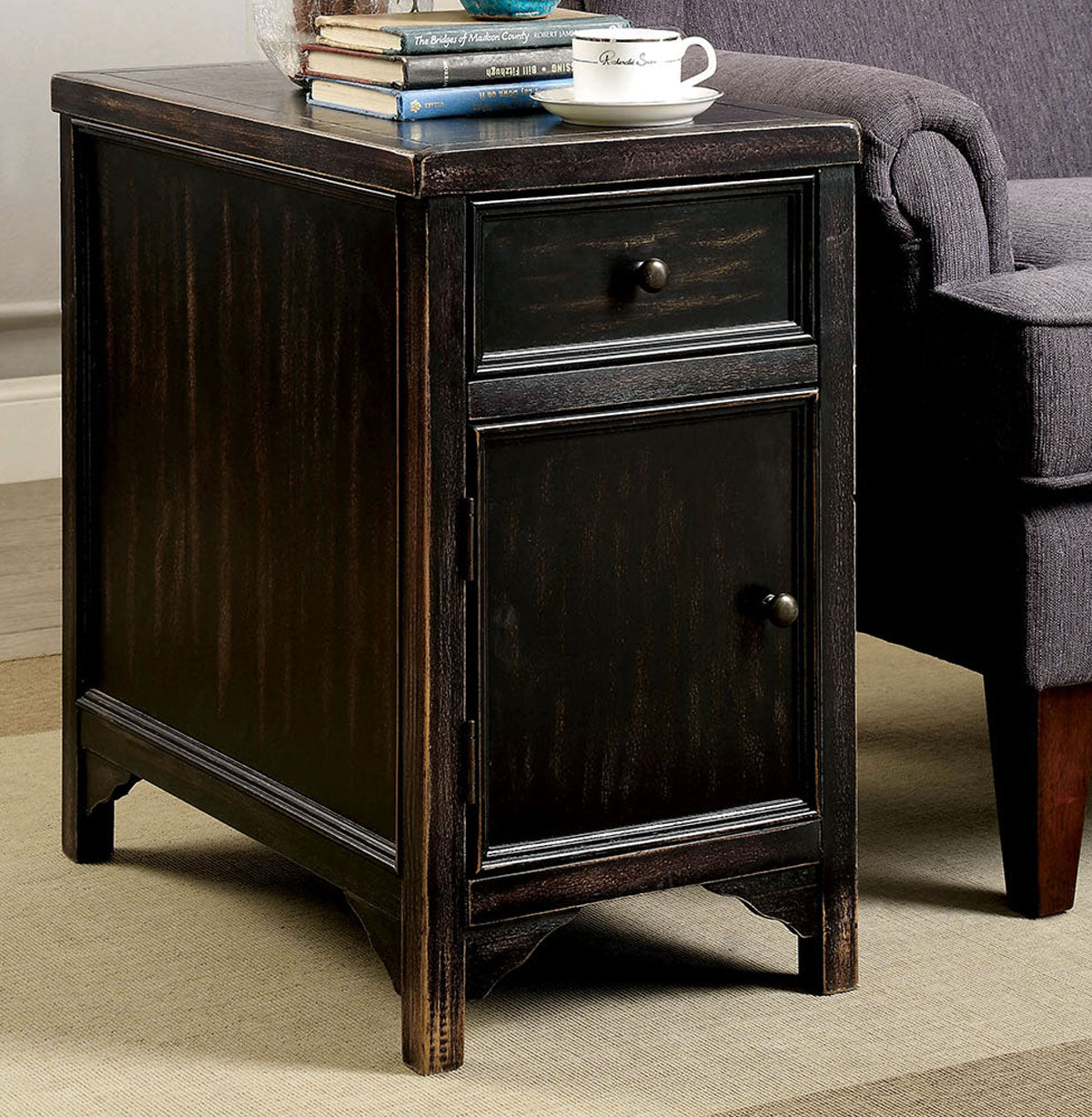 Meadow CM4327T Transitional Antique Black Finish Side Table