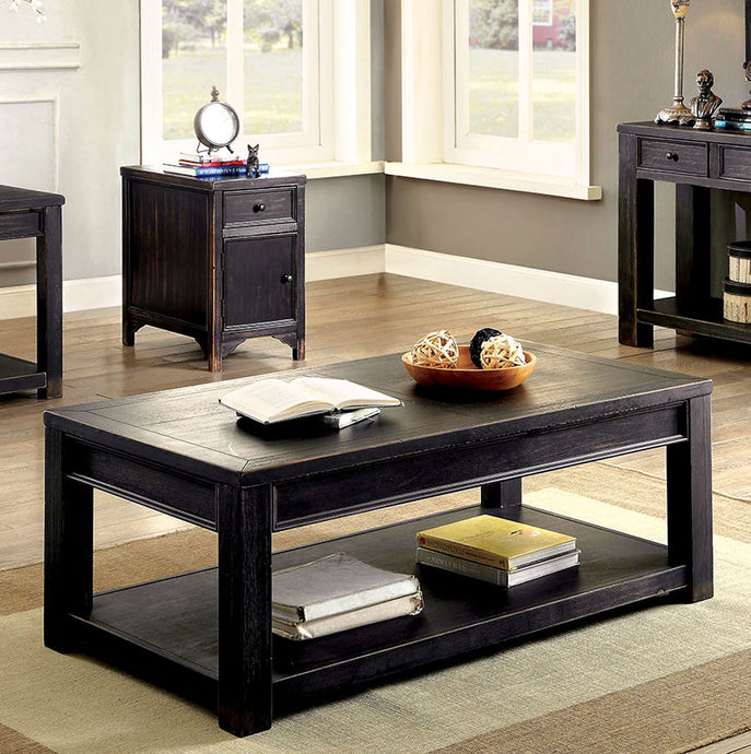 Meadow CM4327C Transitional Antique Black Finish Coffee Table