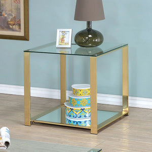 Aneta CM4165E Contemporary Champagne Finish Metal End Table