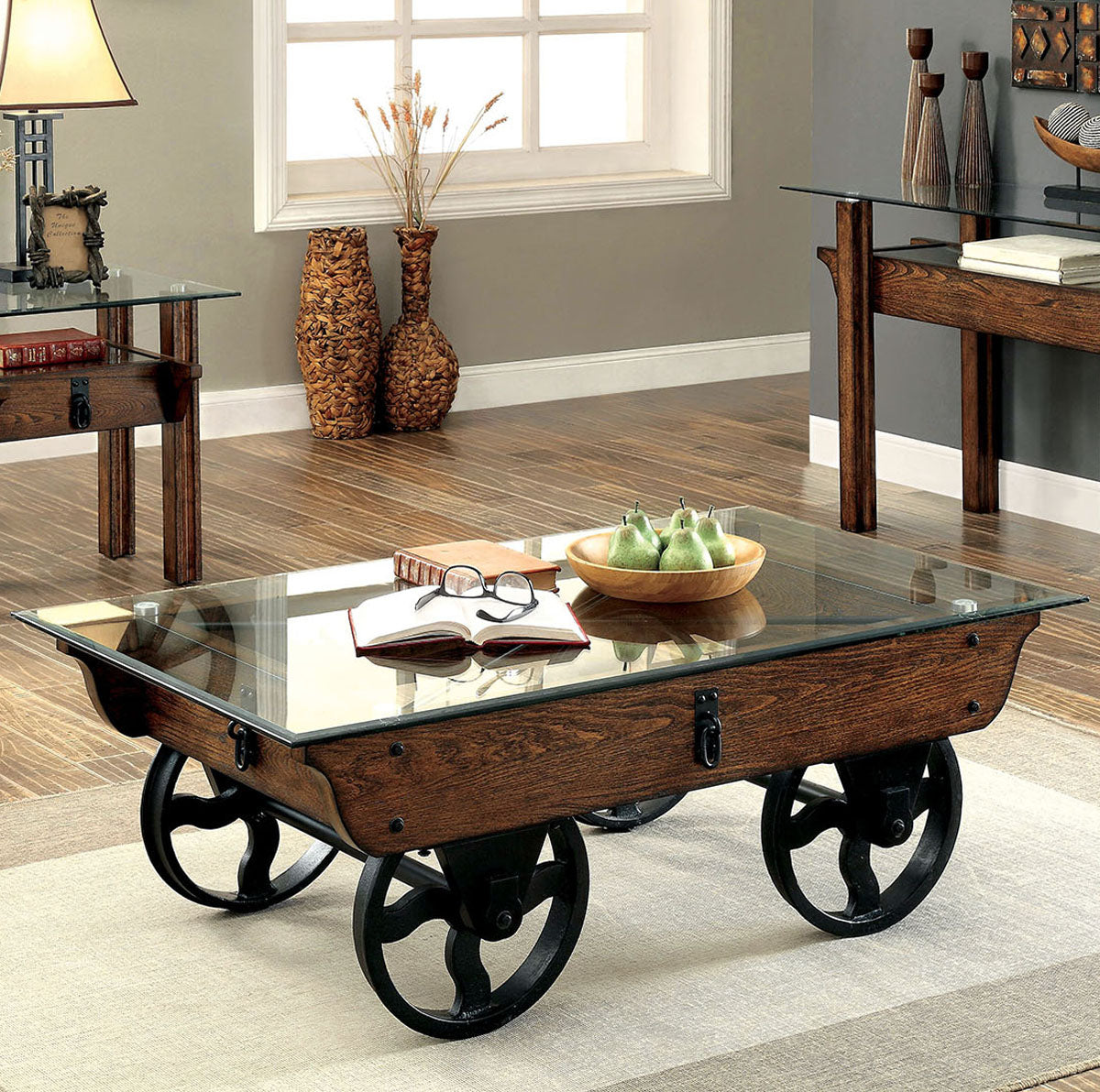 Penny CM4318C Industrial Medium Weathered Oak Wood Coffee Table